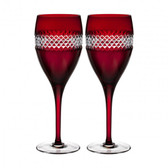 WATERFORD JOHN ROCHA RED CUT WINE, PAIR