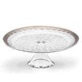 MICHAEL WAINWRIGHT TRURO PLATINUM CAKE PLATE WITH STAND