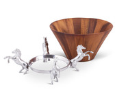 ARTHUR COURT HORSE WOOD TALL SALAD BOWL