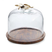 Olive Branch Glass Dome w/ Wood Base