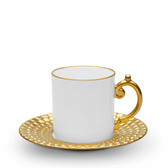 L'OBJET AEGEAN ESPRESSO CUP AND SAUCER GOLD