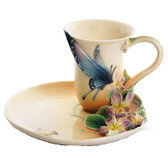 FRANZ RED SPOTTED PURPLE BUTTERFLY CUP/SAUCER SET