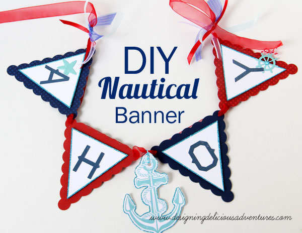 Nautical birthday party snap click supply co i used a generic banner die cut to make my banner base then i used the alphabet letters from the nautical collection to spell out the word ahoy pronofoot35fo Images