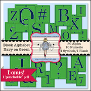 Block Alphabet - Navy on Green