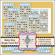 Baby Boy Bingo Card Kit