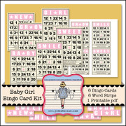 Baby Girl Bingo Card Kit
