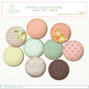 Fabric buttons English Rose