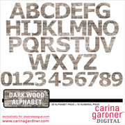 Dark Wood Alphabet and Numbers