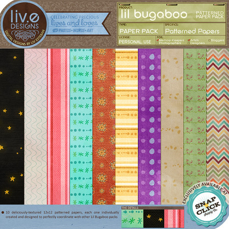 liv.edesigns Lil Bugaboo Patterned Papers