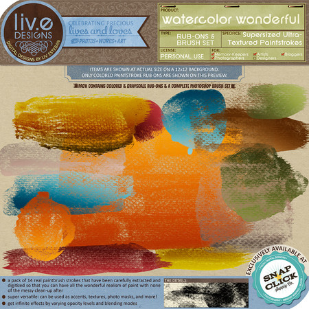liv.edesigns Watercolor Wonderful Super-sized Ultra-Textured Paintstrokes
