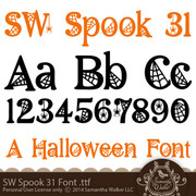 This font comes in .TTF (True Type Format and is perfect for Halloween!  This spooky font is covered in cobwebs and spiders and is ready to give your halloween project just the right feel. I recommend this font for vinyl lettering, or cut large to show off the lacy web details. You can also use this to print out any title or spooky saying on a card.