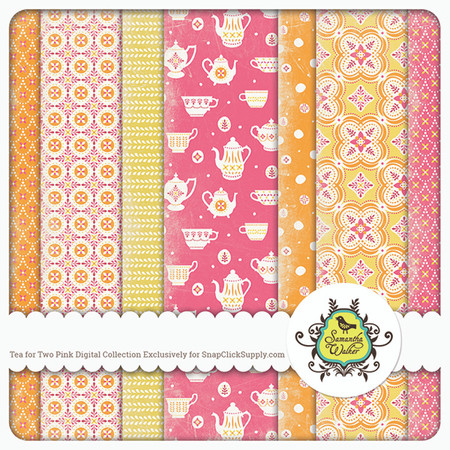 This pack features 7 decorative papers that in a pink colorway with the Two for Tea theme!
