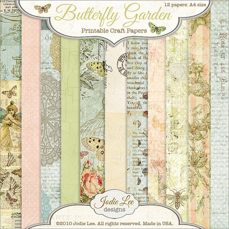 Butterfly Garden Paper Set - Printable 8.5x11 inches.