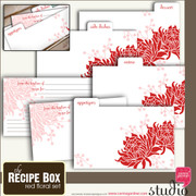 THE RECIPE BOX - RED FLORAL