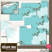 THE RECIPE BOX - BLUE FLORAL
