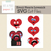 Emoji Hearts Treat Box Cut Files-Lovesick