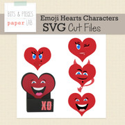 Emoji Hearts Treat Box Cut Files-Characters