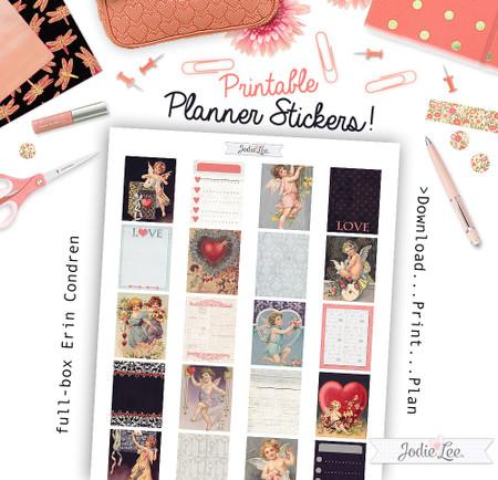 Vintage Valentine Planner Stickers - download and print