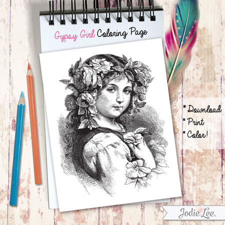 Gypsy Girl Coloring Page - Download, Print, Color!