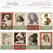 Printable Christmas Tags - Vintage Girls
