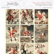 Printable Christmas Tags - Santa (retro)