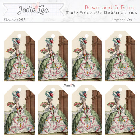 Printable Christmas Tags - Marie Antoinette