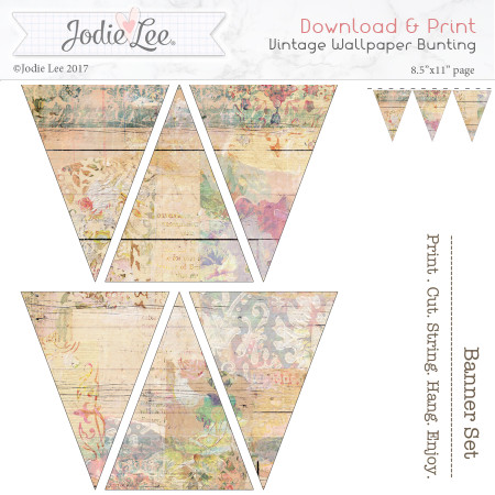 Printable Bunting - Vintage Wallpaper