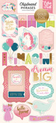 Imagine That Girl Chipboard Phrases - Gold Foil