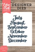 Cursive July to December Words Die Set
