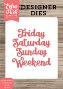 Cursive Friday to Weekend Words Die Set