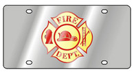 Fire Department Cross License Plate - 1950-1