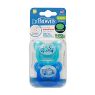 Dr Brown's Orthodontic Glow in the Dark Soother 0-6 months Twin Pk Blue