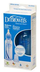 Dr. Brown's 240ml Bottle with Level 1 Teat Standard Narrow Neck Twin Pack Blue