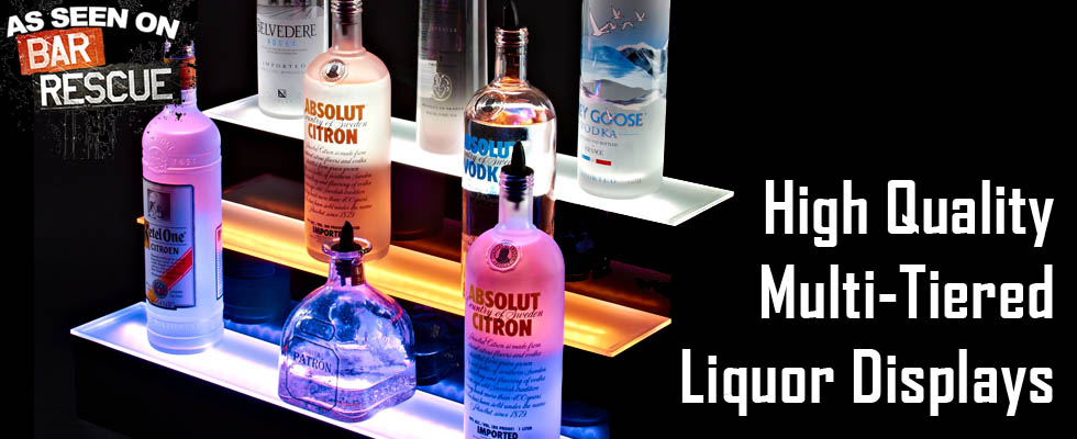 Tiered LED Liquor Shelves