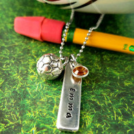 "Handmade.  Materials: 1.2"" x .3"" ~ 14 Gauge Aluminum Hypoallergenic Rectangle, Swarovski Birthstone Crystal, Antique Silver Charm, 18"" Stainless-Steel dainty ball chain. Made to order."