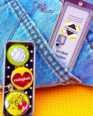 """Our Sporteenie Pocket-Locket holds your most favorite secret treasures. Made of light metal, its dimensions are 3"""" x 1"""" x 1/2""""...  the perfect size  to carry in your pocket. The cool top slides open to reveal a set of 3 custom magnets of your favorite Sporteenie. The locket is made of  high quality nickel-free silver tone that becomes an interchangeable magnetic pendant with 7mm bail. It's up to you to choose which button magnet you want to wear! Sporteenie Pocket-Lockets are fun, versatile, and a practical jewelry accessory."""