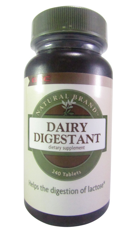 GNC Natural Brand Dairy Digestant Dietary Supplement 240 Tablets(Front)