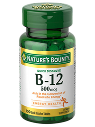 Nature's Bounty Vitamin B-12 500 mcg , 100 Quick Dissolve Tablets