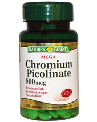 Natures Bounty Chromium Picolinate 800mcg 50 Tablets