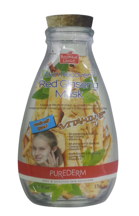 Purederm Skin Recovery Mask with Vitamin E - Red Ginseng (Front)