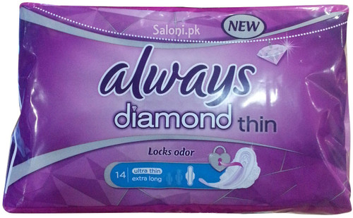 New Always Diamond Ultra Thin Extra Long 14 Pads Front