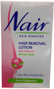 Nair Hair Removal Lotion With Baby Oil Rose Fragrance Front