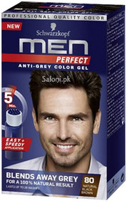Schwarzkopf Men Perfect Anti-Grey Color Gel Natural Black Brown 80