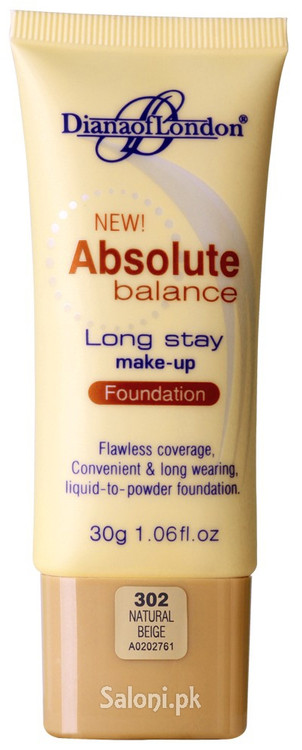 Diana Of London Absolute Balance Long Stay Make-up Foundation 302 Natural Beige Front