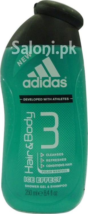 Adidas Ice Effect Hair and Body 3 Shower Gel and Shampoo (Front)