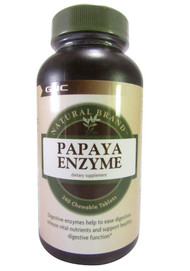 GNC Natural Brand Papaya Enzyme Chewable Tablets (Front)