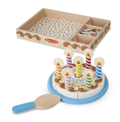Decorate, Slice, and Serve Wooden Birthday Cake