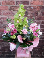 An exquisite handtied aquapac bouquet of flower delight. Featuring a large cymbidium orchid, lily, rose, anthurium, lissianthus, bamboo, monstera leaves and eucalyptus. Beautifully arranged, packaged and presented.