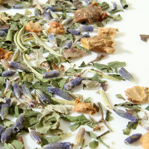 Peppermint, Rosemary, Lavender with a hint of Apple and Blackberry leaves is simply magical during or after a meal.