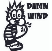 Calvin Peeing On Damn Wind Sticker
